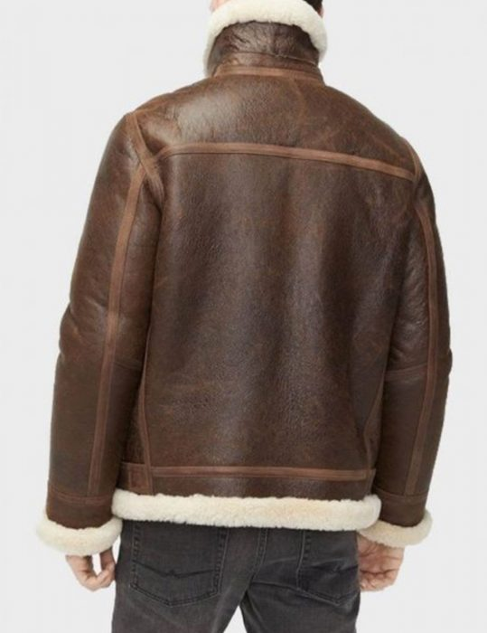 aviator brown shearling jacket