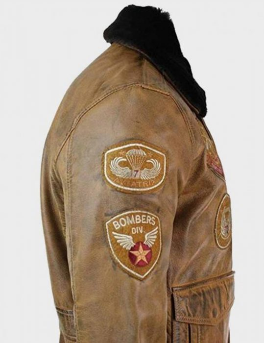 aviator mens fur collar bomber leather jacket