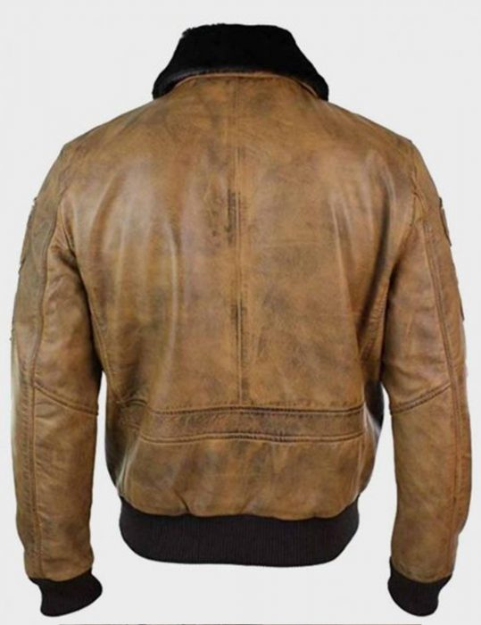 aviator mens fur collar bomber leather jacket with patches