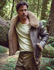 brad pitt shearling brown aviator jacket