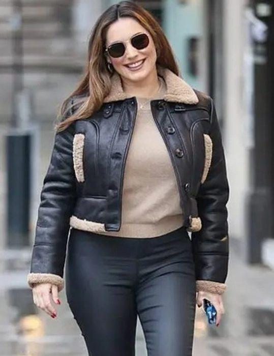 kelly brook aviator leather jacket