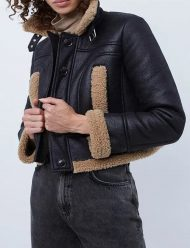 kelly brook shearling aviator leather jacket