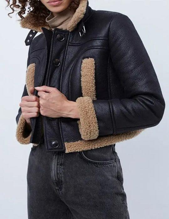 kelly brook shearling aviator leather jacket