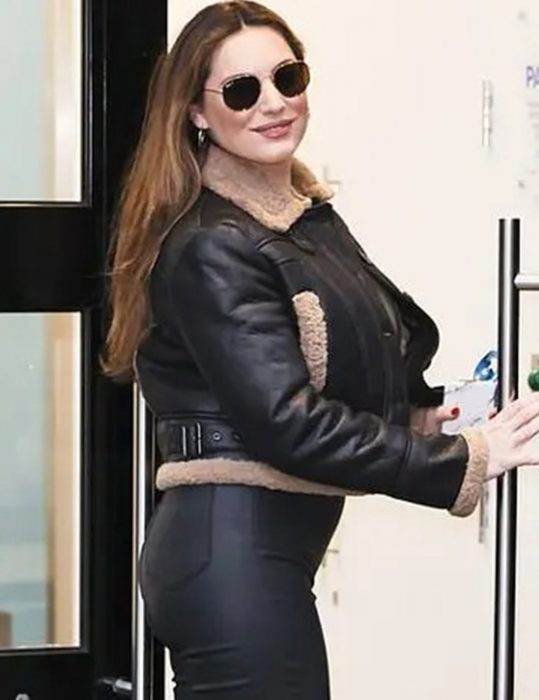 kelly brook shearling black cropped aviator leather jacket