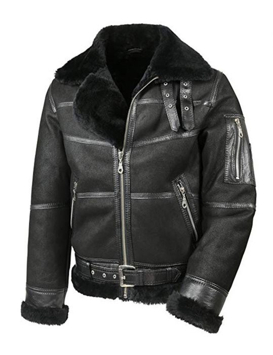 men's aviator b16 shearling leather jacket