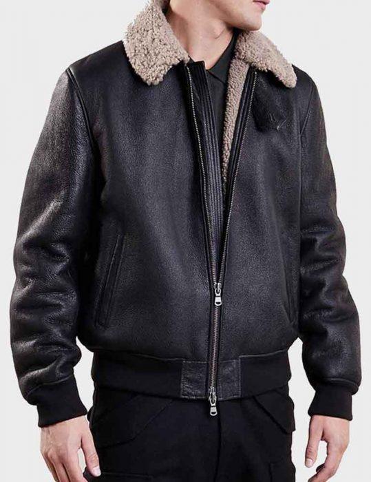 mens aviator black leather jacket