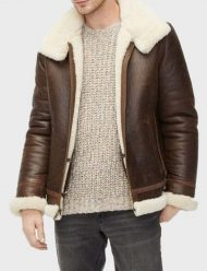 mens aviator brown shearling leather jacket