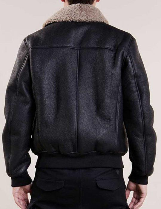 mens aviator fur collar black leather jacket