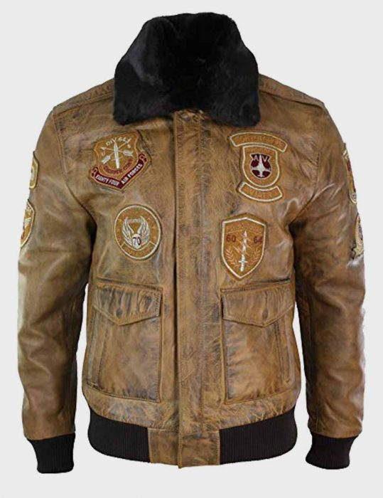 mens aviator ten bomber leather jacket