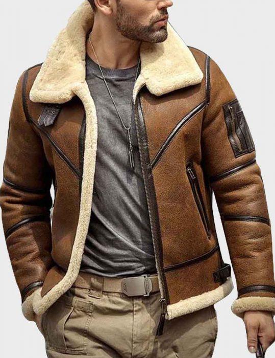 mens shearling b3 flight sheepskin leather aviator jacket
