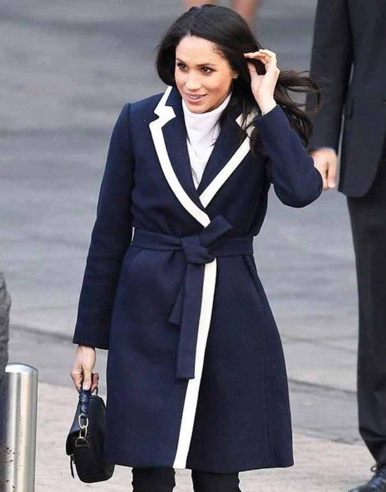 Duchess of Sussex Meghan Markle Navy Blue Wrap Coat