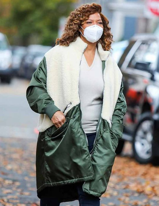 The-Equalizer-Queen-Latifah-Green-&-White-Coat