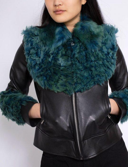 marques'almeida aviator green fur jacket