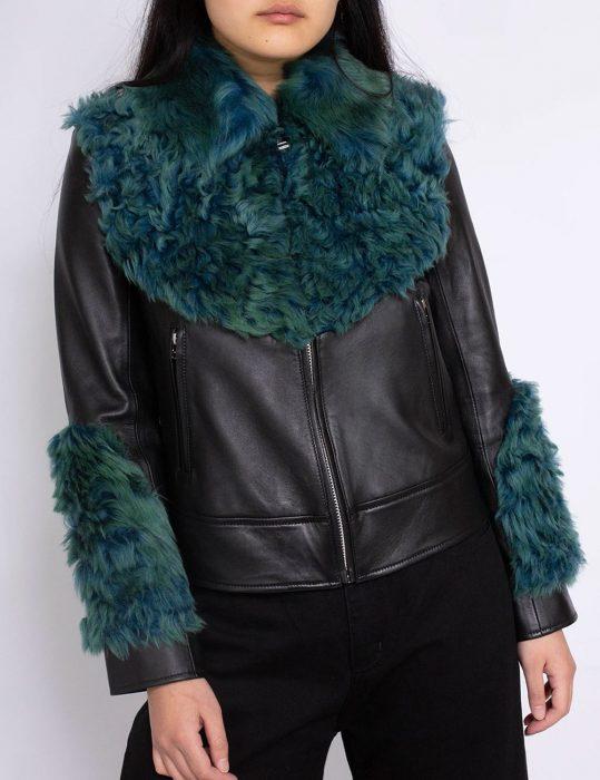 marques'almeida shearling leather aviator green fur jacket