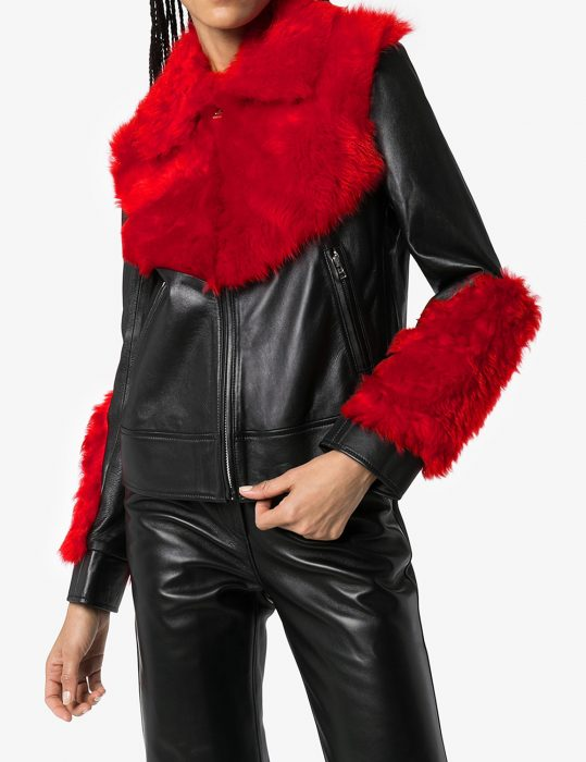 marques'almeida shearling leather aviator red fur jacket