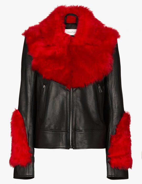 marques'almeida womens shearling leather aviator red fur jacket