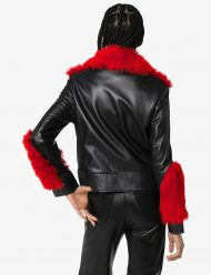 shearling leather aviator red fur jacket