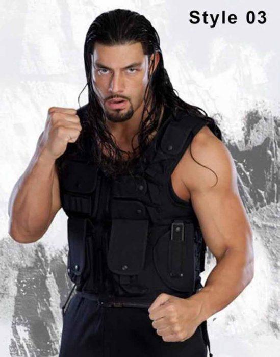 world wrestling entertainment roman reigns black vest