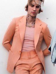 Justin-Bieber-Peaches-orange--Suit