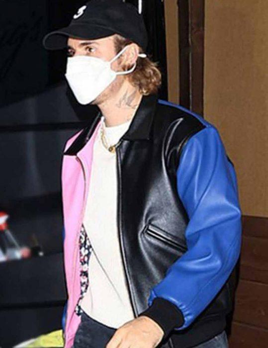 Justin-Bieber-Tricolor-Leather-Bomber-Jacket