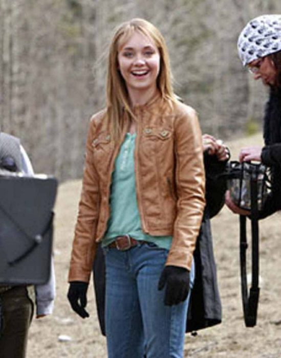 amy fleming heartland s14 amber marshall brown leather jacket