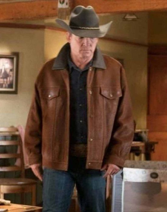 chris potter heartland tim fleming brown leather jacket