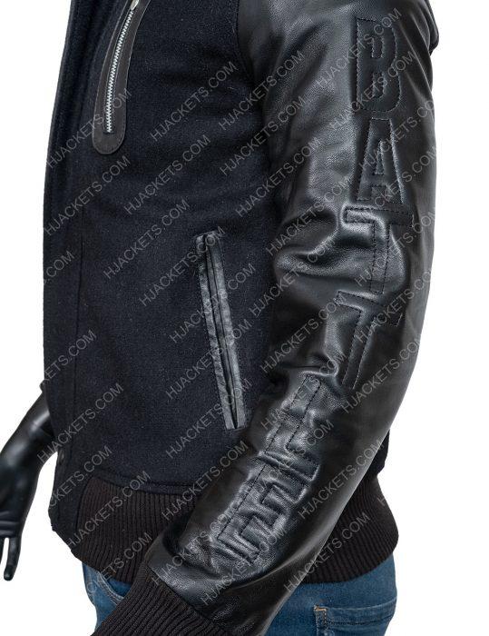 creed michael b jordan black letterman jacket