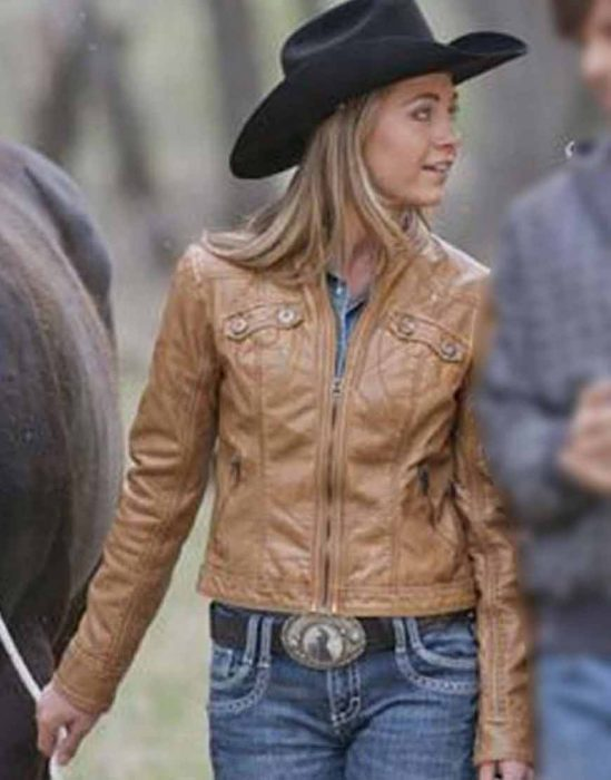 heartland s14 amber marshall brown leather jacket