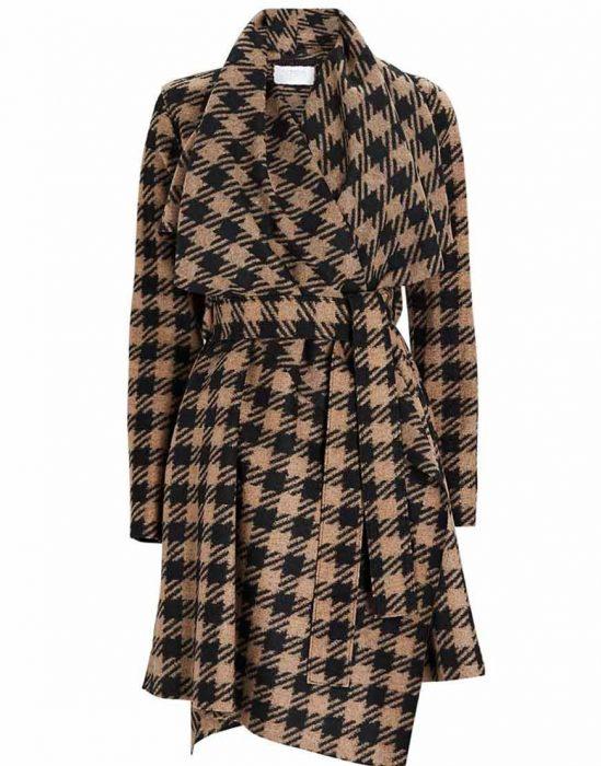 melody 'mel' bayani the equalizer 2021 liza lapira brown houndstooth coat