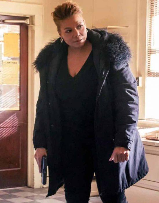 the equalizer (2021) queen latifah fur collar coat
