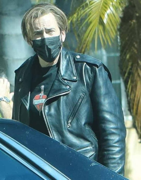 the unbearable weight of massive talent nicolas cage black leather jacket