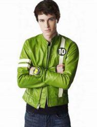 Tom-Holland-Ben-10-Green-Leather-Jacket
