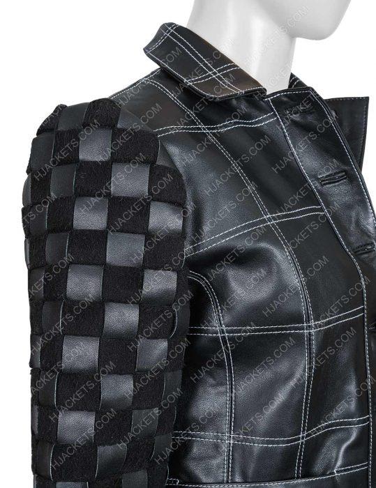 Emma Stone black leather Jacket