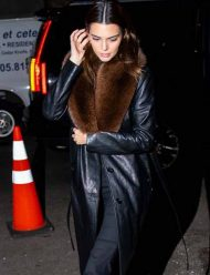 Kendall-Jenner-Leather-Black-Trench-Coat