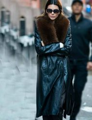 Kendall-Jenner-Leather-Trench-Coat