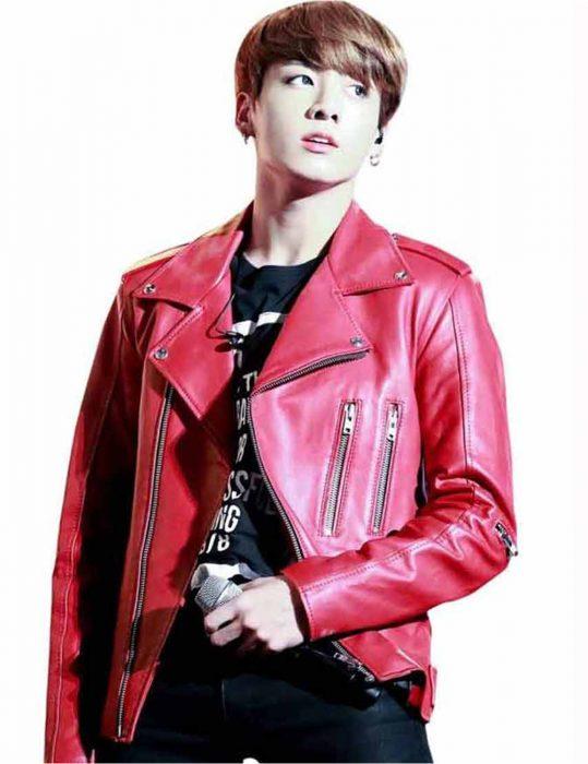 Joe-Jungkook-Leather-Red-Jacket