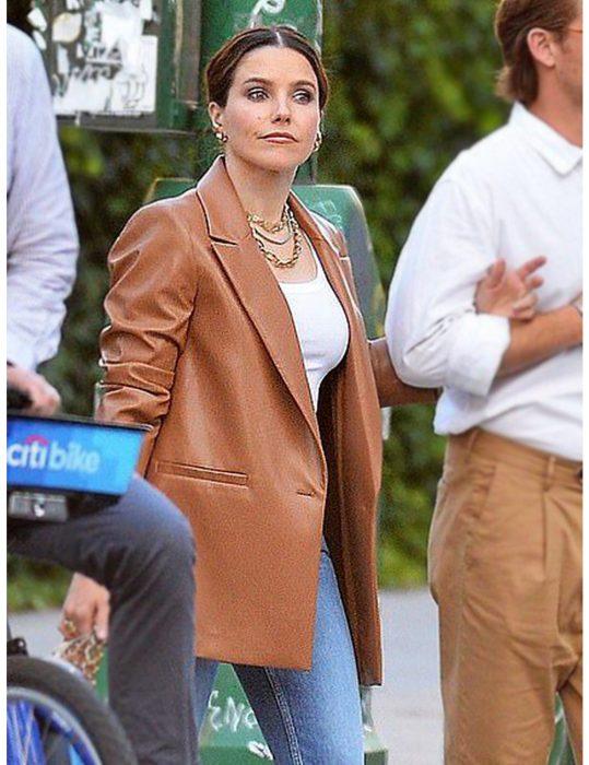 Sophia-Bush-Oversized-Brown-Leather-Coat