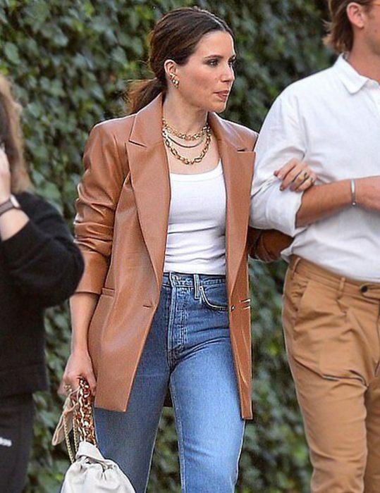 Sophia-Bush-Oversized-Leather-Coat