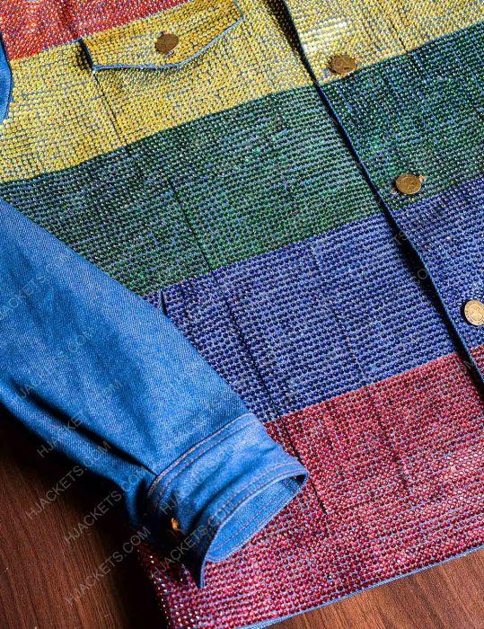 kamala harris gay pride flag denim jacket