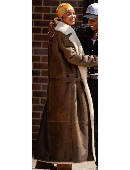 Rihanna-Leather-Shearling-Coat