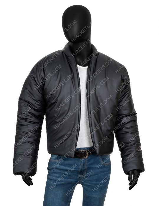 Yeezy Gap Black Round Leather Jacket For Mens