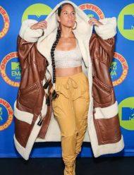 Alicia-Keys-Long-Shearling-Coat