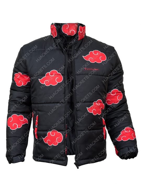 Naruto Akatsuki Puffer Jacket For Mens