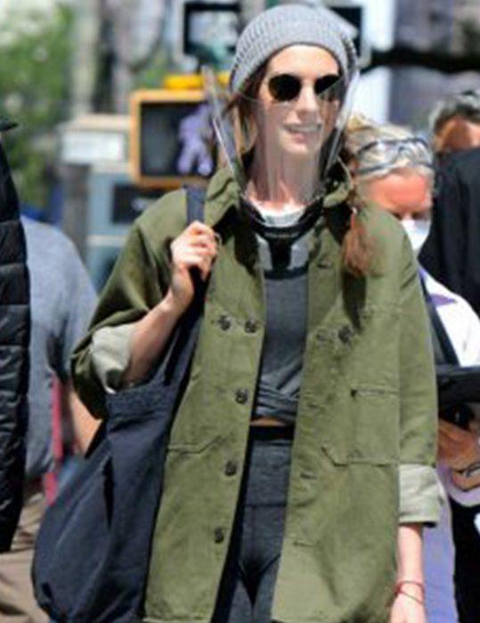 WeCrashed-Anne-Hathaway-Green-Cotton-Jacket