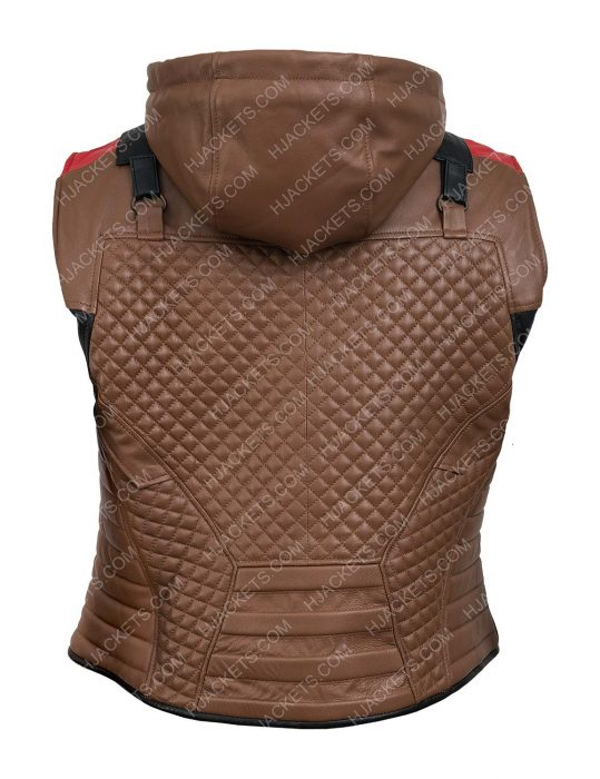 Gotham Knights Red Hooded Brown Leather Vest