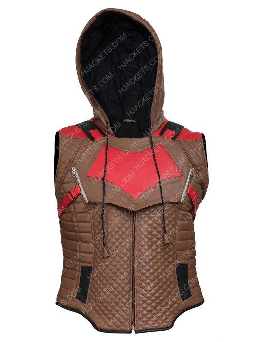 Jason Todd Gotham Knights Red Brown Leather Vest