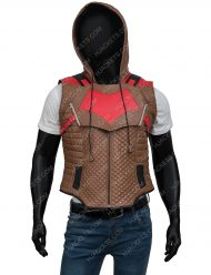 Jason Todd Gotham Knights Red Hooded Brown Leather Vest