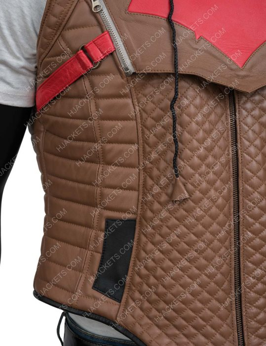 Jason Todd Gotham Knights Red Hooded Leather Vest