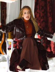 Adele Easy On Me Brown Leather Coat