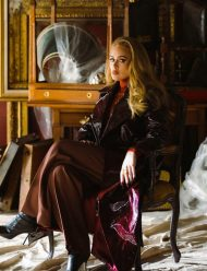 Adele Easy On Me Brown Leather Trench Coat For Women